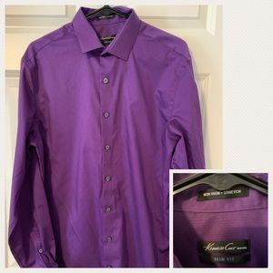 Purple Kenneth cole slim fit button up shirt